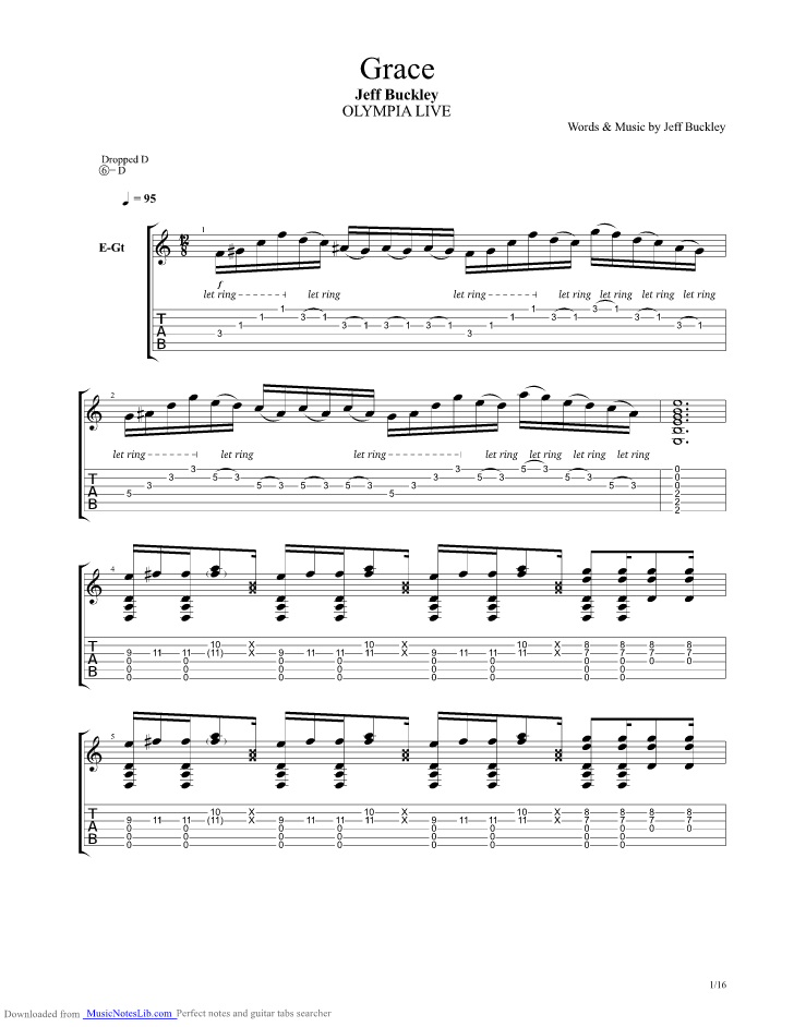 Grace Guitar Pro Tab By Jeff Buckley Musicnoteslib