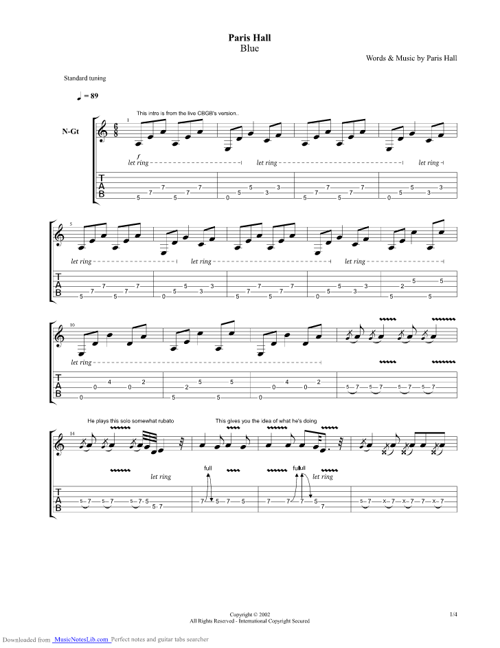 Forget Her Guitar Pro Tab By Jeff Buckley Musicnoteslib