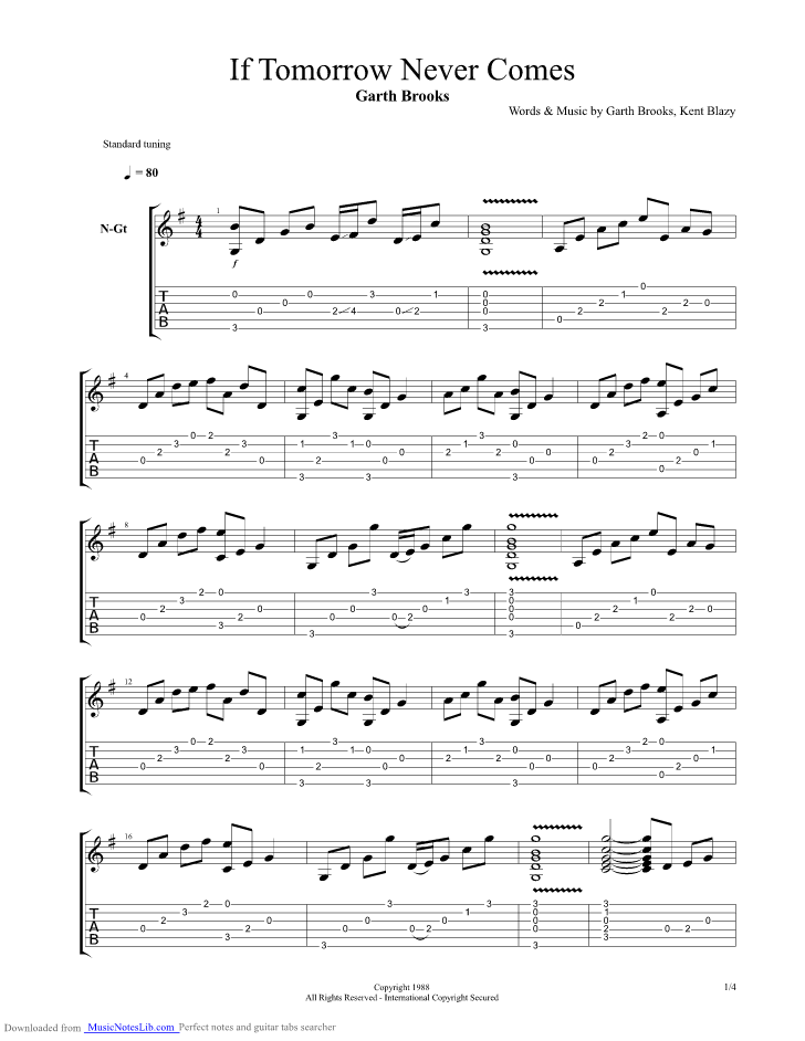 If Tomorrow Never Comes guitar pro tab by Garth Brooks ...