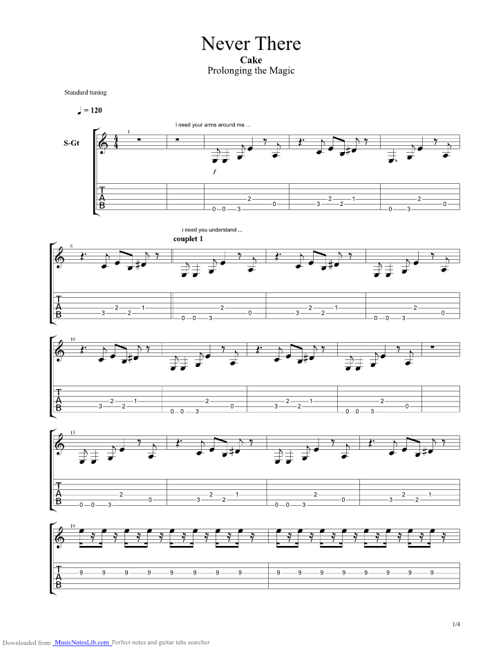 Never There guitar pro tab by CAKE @ musicnoteslib.com