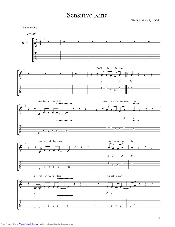 Sensitive Kind Guitar Pro Tab By J J Cale Musicnoteslib