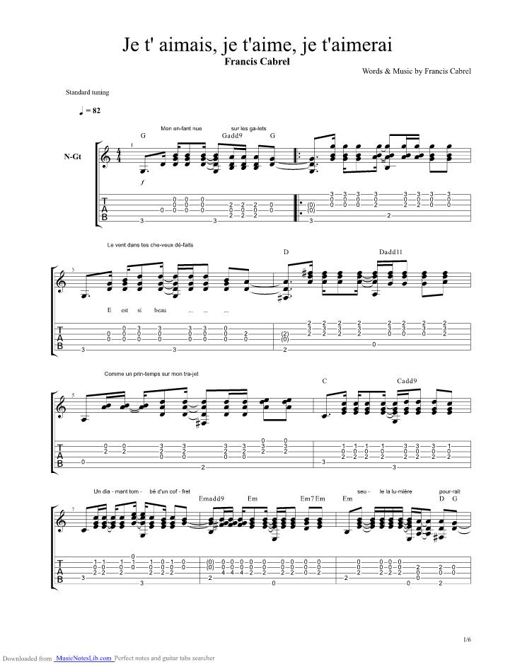 Je taimais je taime je taimerai guitar pro tab by francis cabrel - La cabane au fond du jardin paroles francis cabrel ...