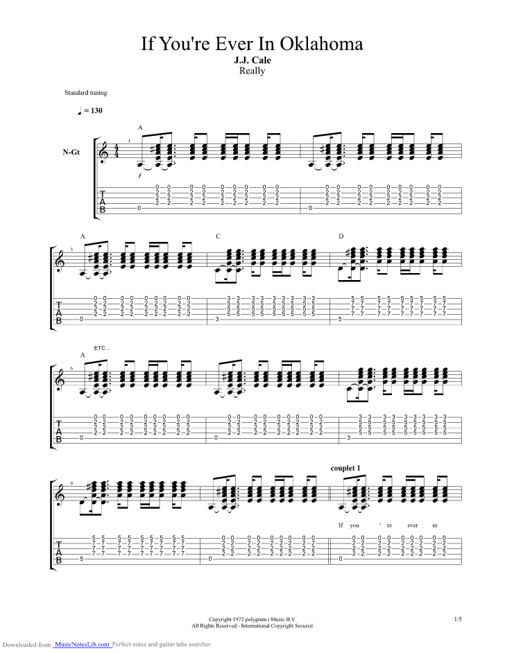 If You Re Ever In Oklahoma Guitar Pro Tab By J J Cale