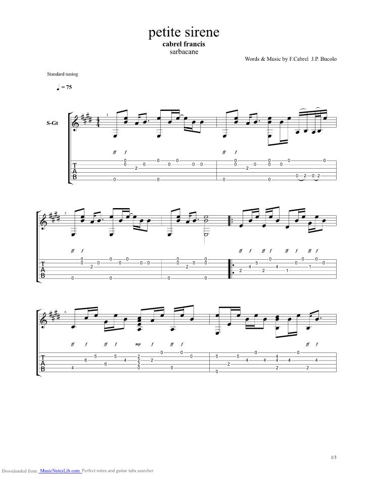 Petite sirene guitar pro tab by francis cabrel - Ma cabane au fond du jardin francis cabrel ...