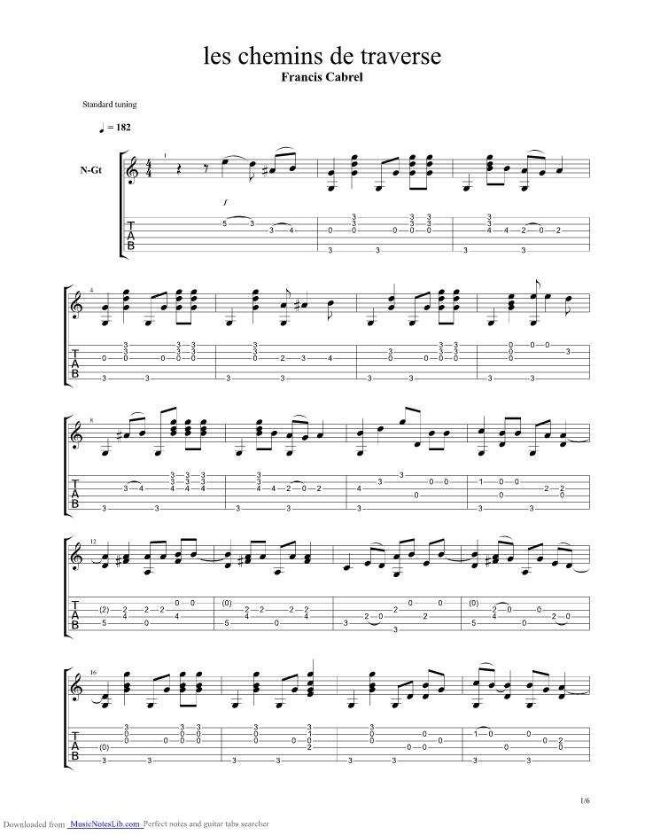 Les chemins de traverse guitar pro tab by francis cabrel - Ma cabane au fond du jardin francis cabrel ...