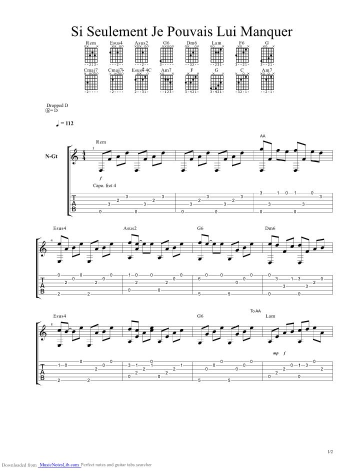 partition guitare calogero