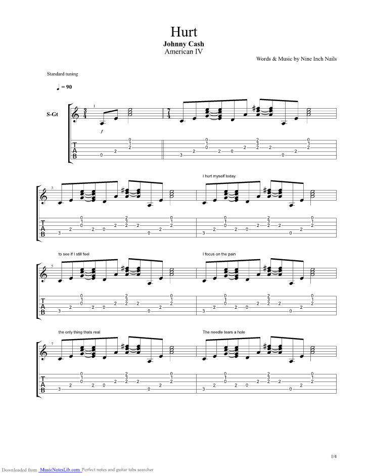 Hurt guitar pro tab by Johnny Cash @ musicnoteslib.com