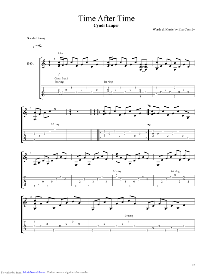 Time After Time Guitar Chords