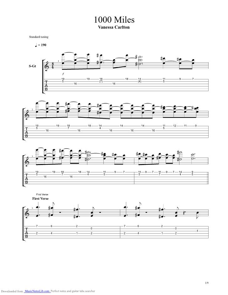 A Thousand Miles Guitar Pro Tab By Vanessa Carlton Musicnoteslib