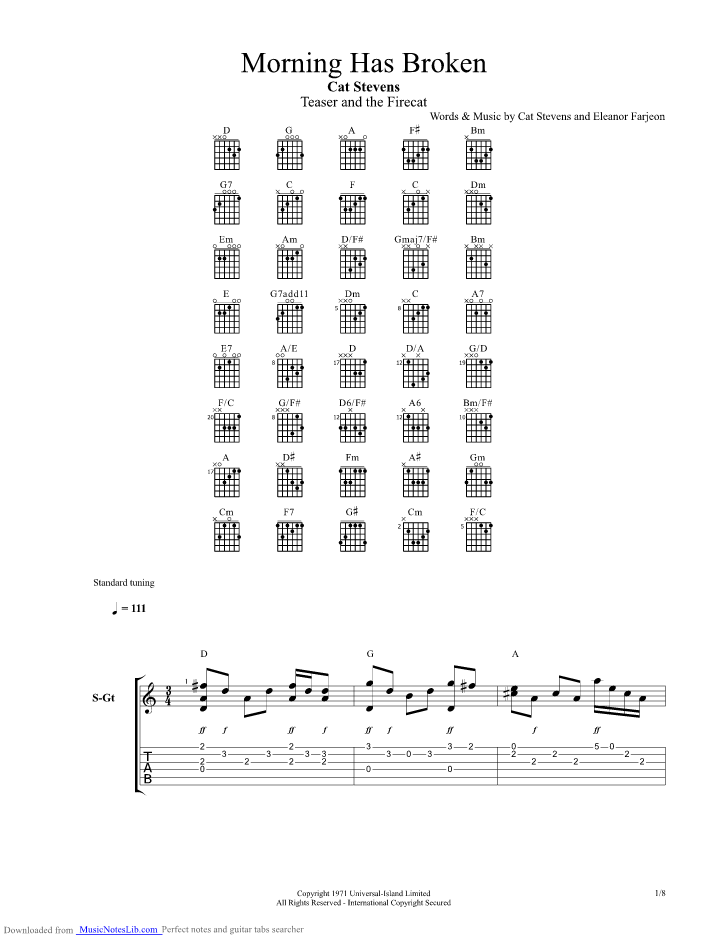 Morning Has Broken guitar pro tab by Cat Stevens @ musicnoteslib.com