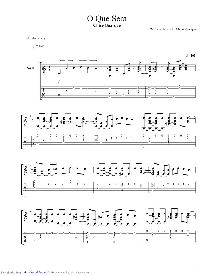 O Que Sera guitar pro tab by Chico Buarque @ musicnoteslib.com