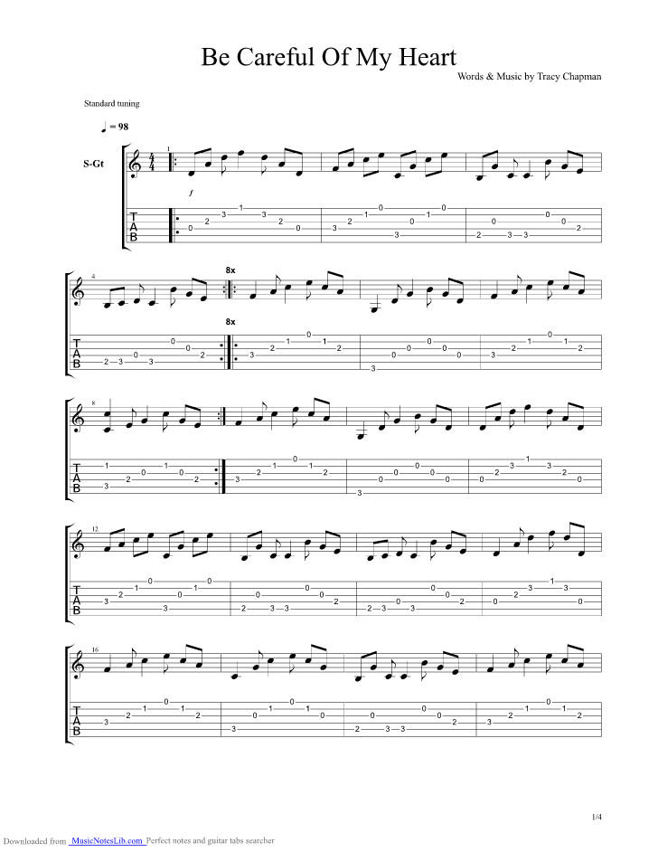 Be Careful Of My Heart Guitar Pro Tab By Tracy Chapman