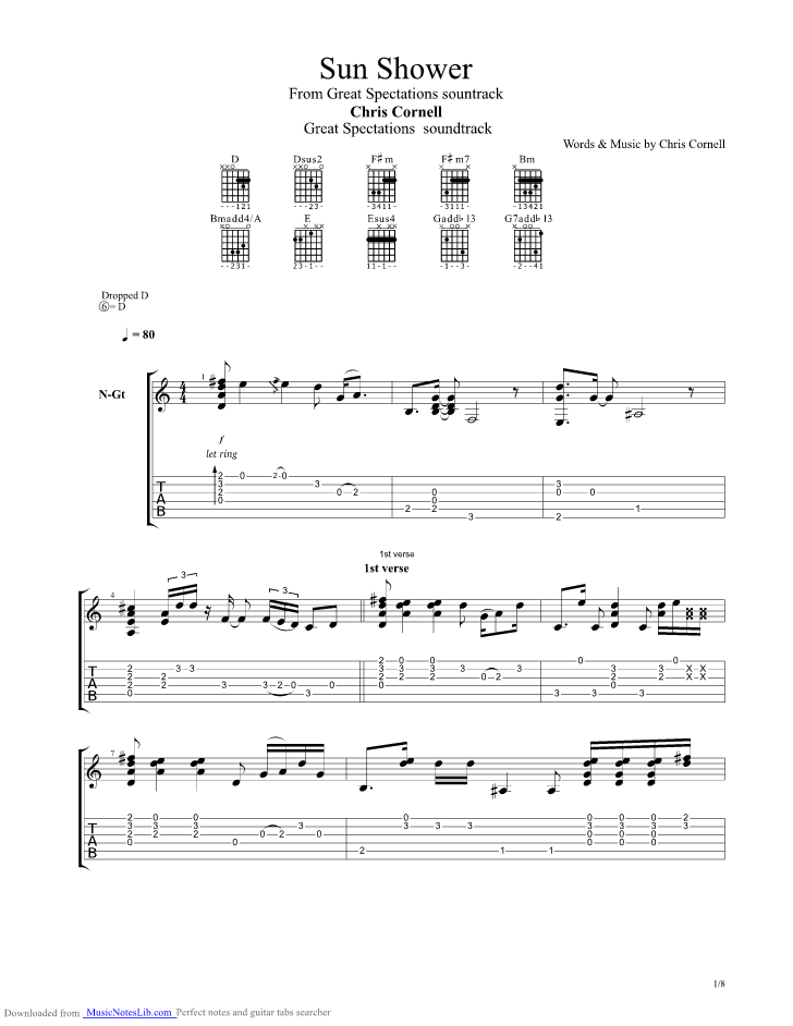 Sun Shower guitar pro tab by Chris Cornell @ musicnoteslibcom # Sunshower Tab_033823