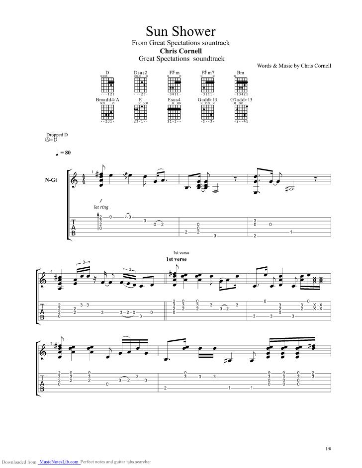 Sun Shower guitar pro tab by Chris Cornell @ musicnoteslibcom # Sunshower Names_035648