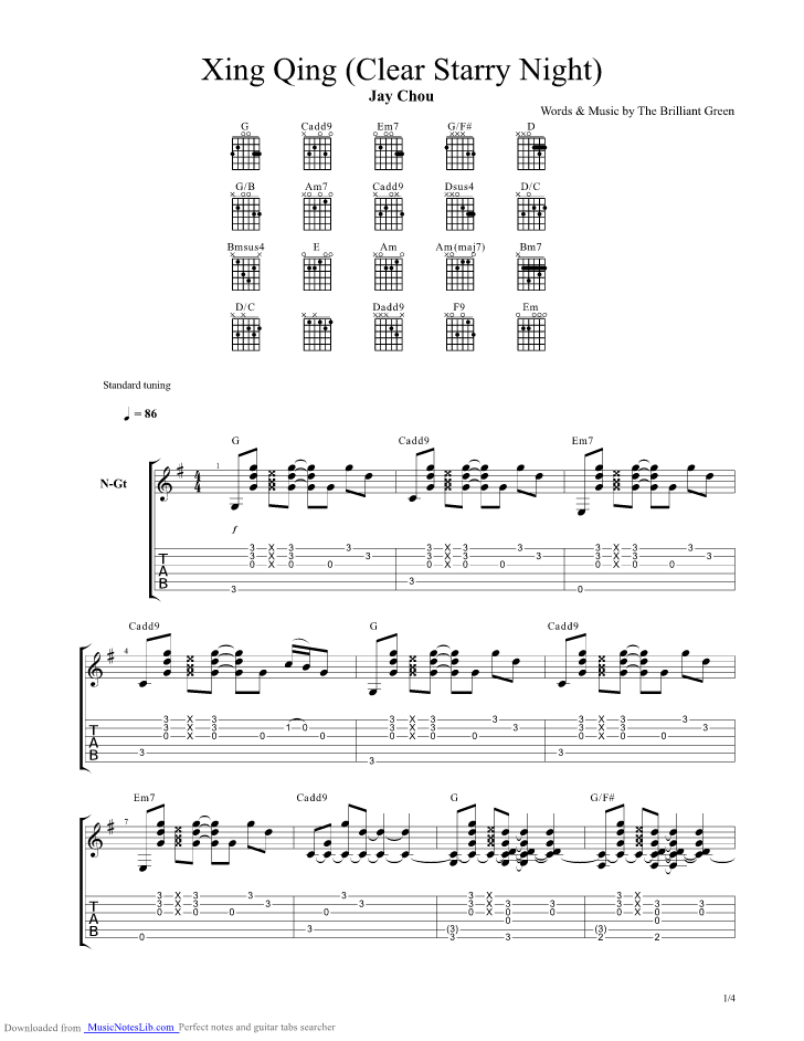 Xing Qing Clear Starry Night Guitar Pro Tab By Jay Chou