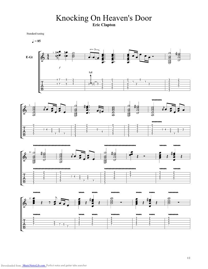 Knocking On Heavens Door guitar pro tab by Eric Clapton @ musicnoteslib.com