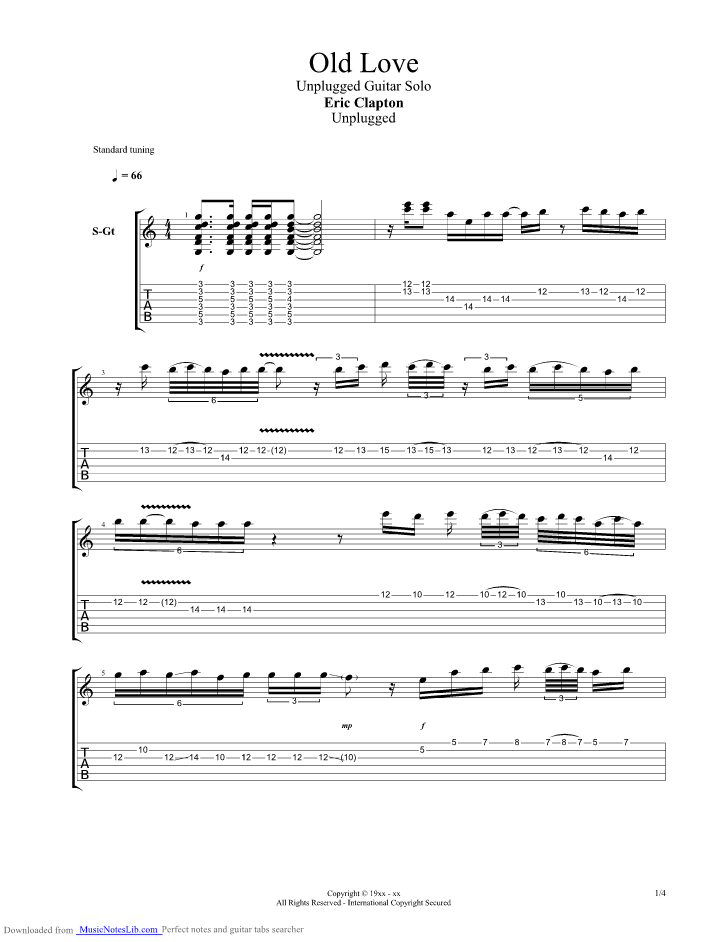 Old Love Solo Guitar Pro Tab By Eric Clapton