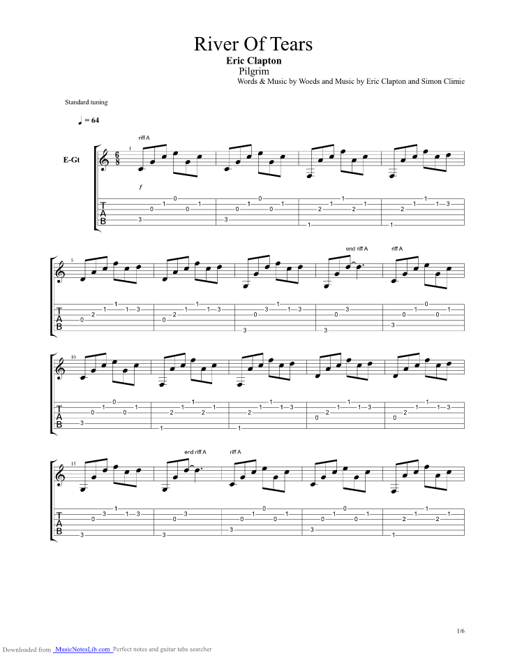 River Of Tears guitar pro tab by Eric Clapton ...