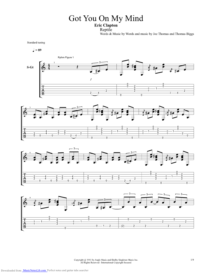Got You On My Mind Guitar Pro Tab By Eric Clapton Musicnoteslib