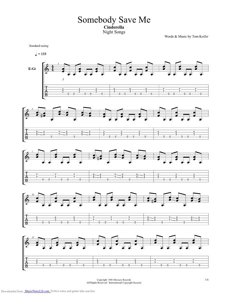 Somebody Save Me Guitar Pro Tab By Cinderella Musicnoteslib
