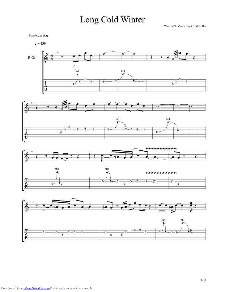 Long Cold Winter guitar pro tab by Cinderella @ musicnoteslib.com