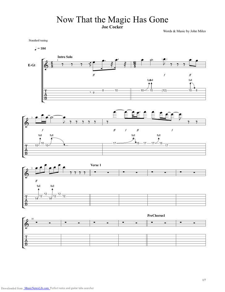 Now That The Magic Has Gone Guitar Pro Tab By Joe Cocker