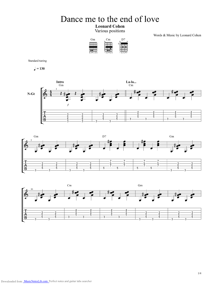 Dance Me To The End Of Love Guitar Pro Tab By Leonard Cohen