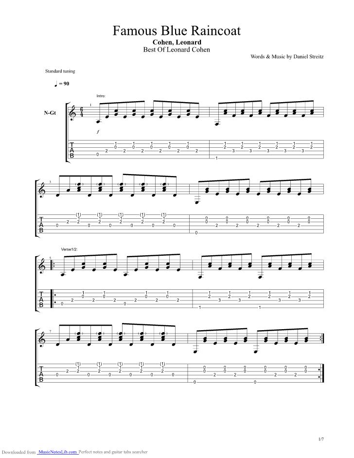 Famous Blue Raincoat guitar pro tab by Leonard Cohen @ musicnoteslib.com