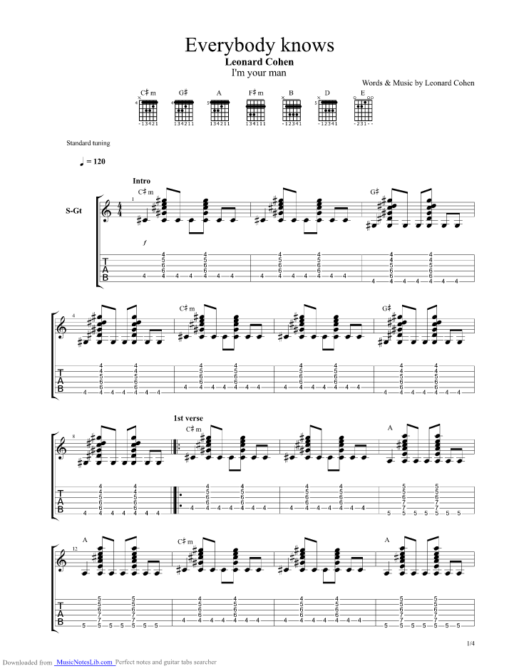 Everybody Knows guitar pro tab by Leonard Cohen @ musicnoteslib.com