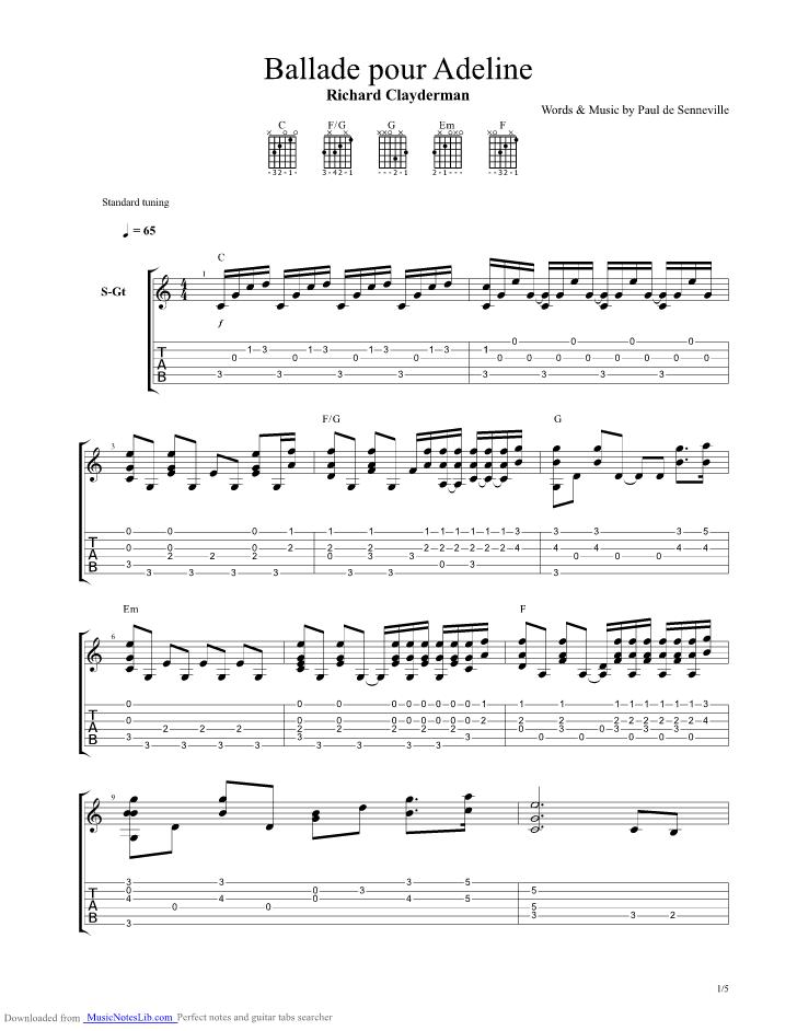 Ballade Pour Adeline guitar pro tab by Clayderman Richard @ musicnoteslib.com