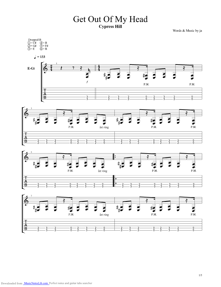 Get Out Of My Head Guitar Pro Tab By Cypress Hill Musicnoteslib