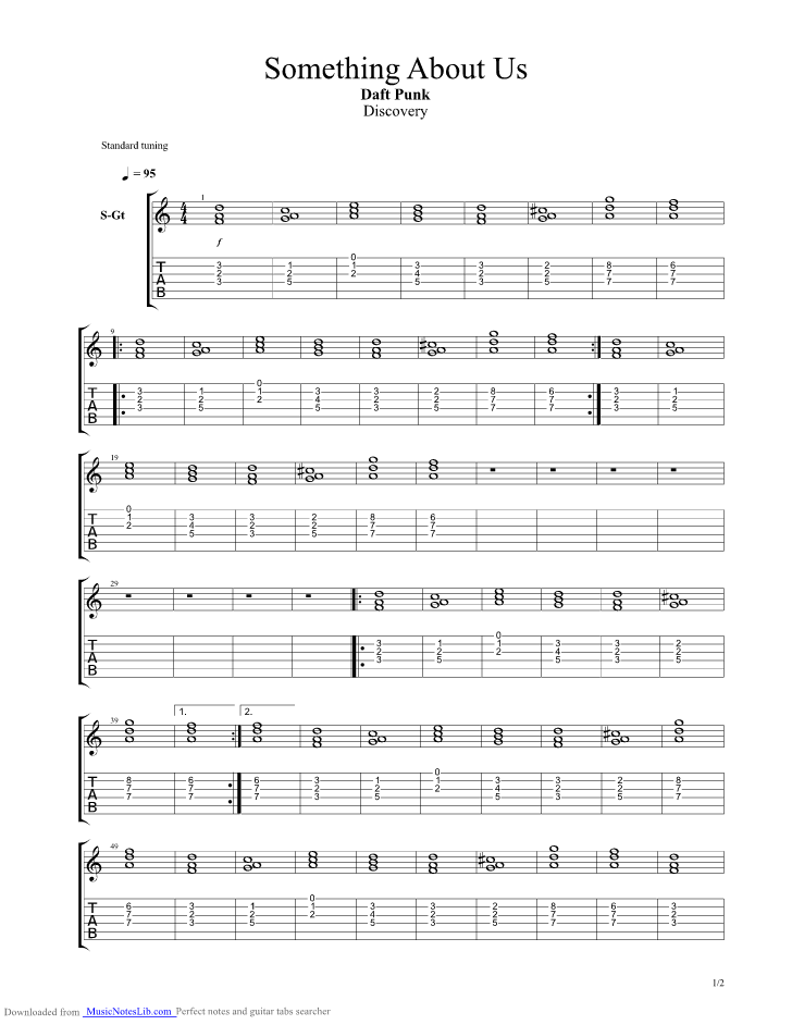 Something About Us Guitar Pro Tab By Daft Punk Musicnoteslib