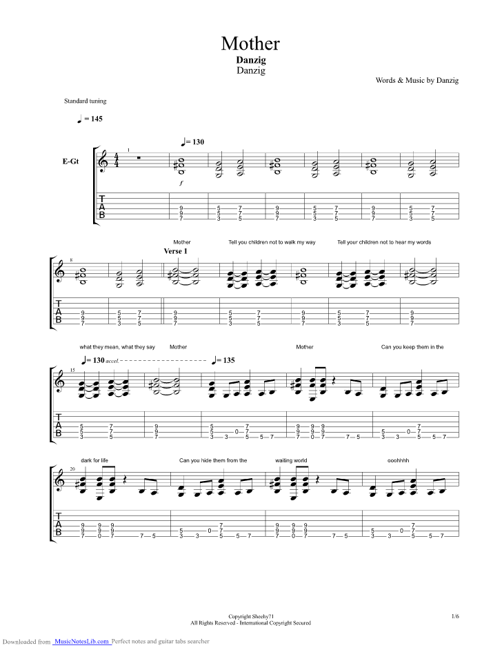 Mother Guitar Pro Tab By Danzig Musicnoteslib