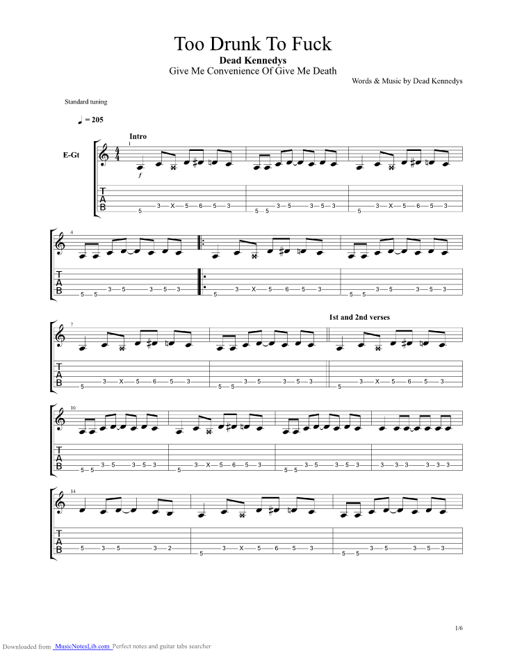 Too Drunk To Fuck Guitar Pro Tab By Dead Kennedys Musicnoteslib