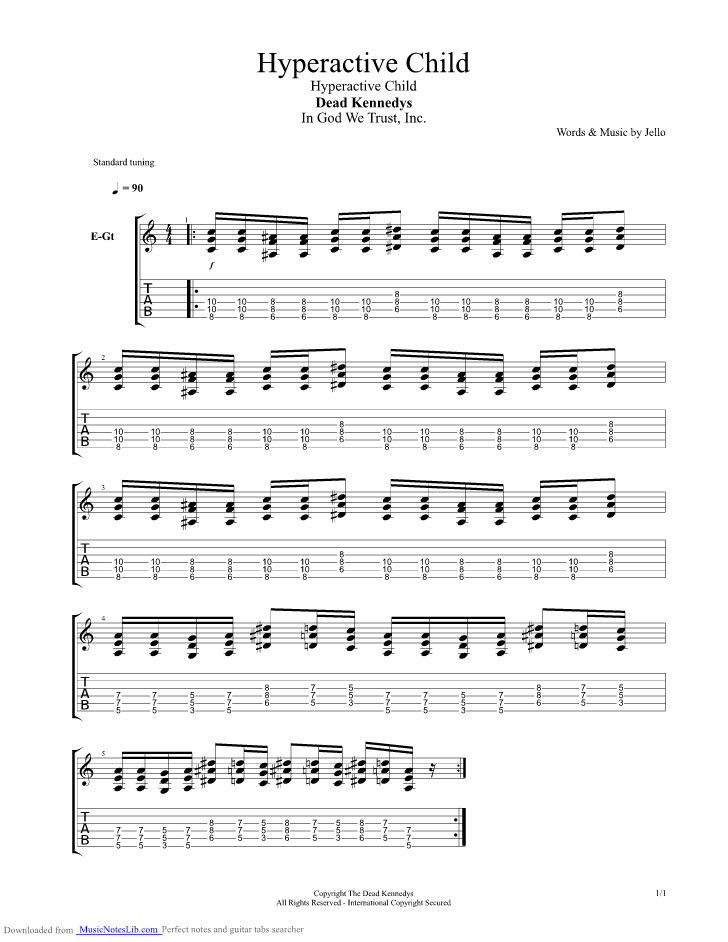 Hyperactive Child Guitar Pro Tab By Dead Kennedys Musicnoteslib