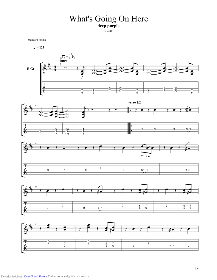 Whats Going On Here Guitar Pro Tab By Deep Purple Musicnoteslib