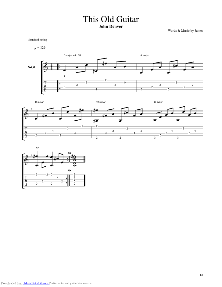 This Old Guitar Guitar Pro Tab By John Denver Musicnoteslib