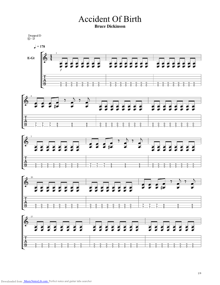 Accident Of Birth Guitar Pro Tab By Bruce Dickinson Musicnoteslib