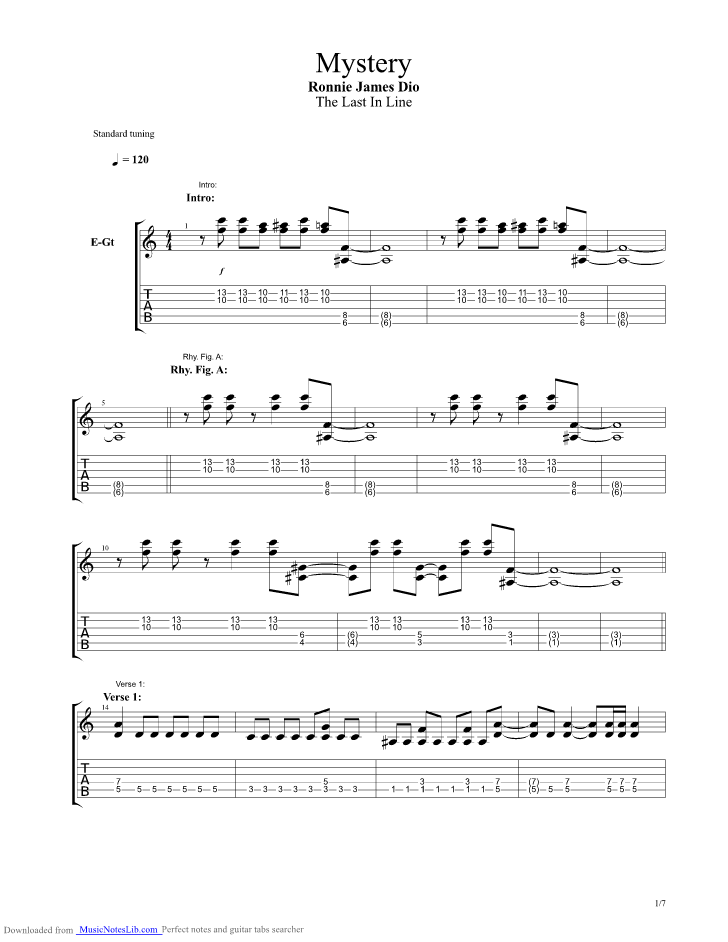 Mystery Guitar Pro Tab By Dio Musicnoteslib