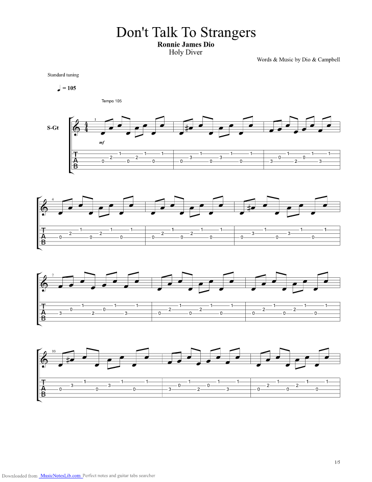 Don T Talk To Strangers Guitar Pro Tab By Dio Musicnoteslib