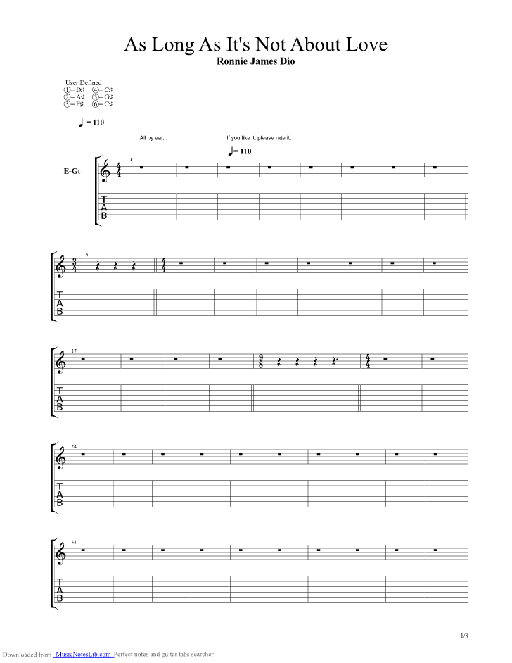 As Long As Its Not About Love Guitar Pro Tab By Dio Musicnoteslib