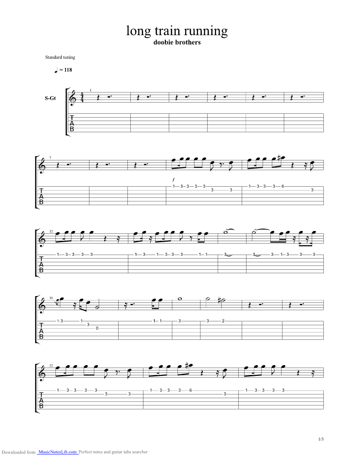 Long Train Running Guitar Pro Tab By Doobie Brothers Musicnoteslib