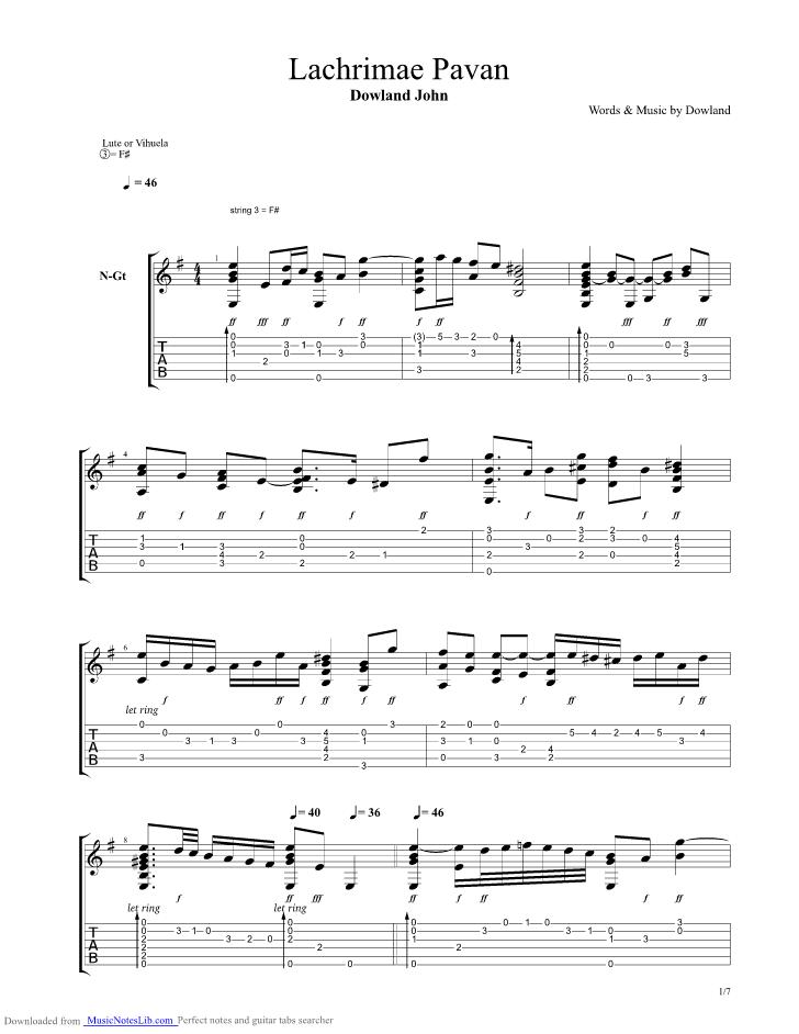 Dowland lachrimae guitar john pdf pavan