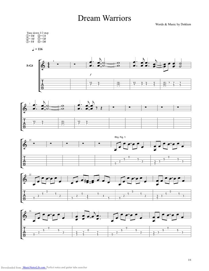 Dream Warriors Guitar Pro Tab By Dokken Musicnoteslib