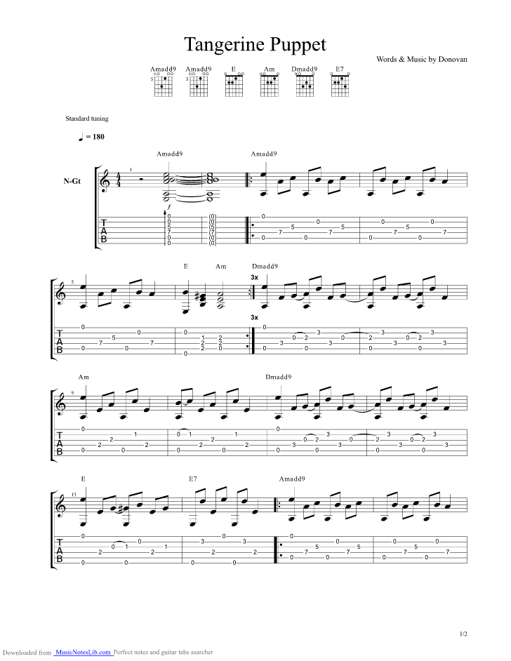Tangerine Puppet Guitar Pro Tab By Donovan Musicnoteslib