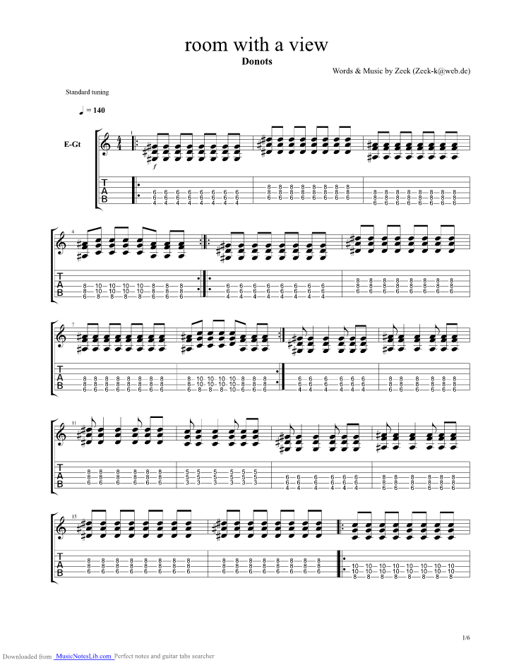 Room With A View Guitar Pro Tab By Donots Musicnoteslib Com