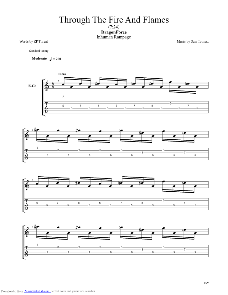 Through The Fire And Flames guitar pro tab by Dragonforce ...