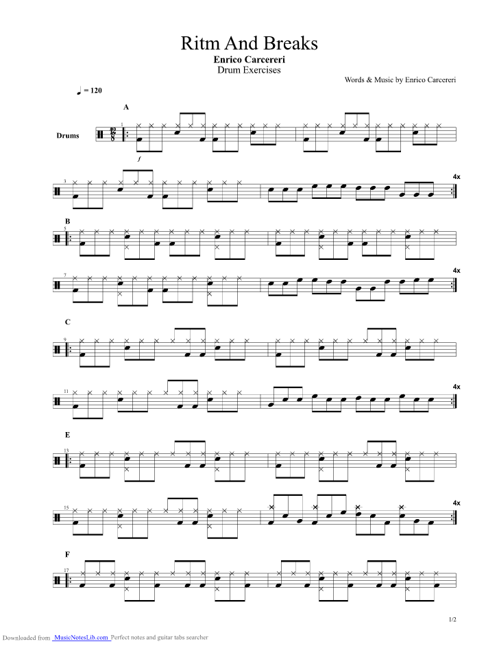 Rhythm and Breaks 12 8 guitar pro tab by Drum