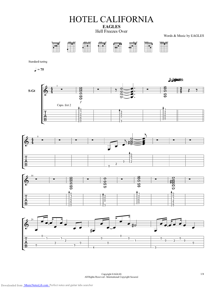 Hotel California Hell Freezes Over guitar pro tab by Eagles @ musicnoteslib.com