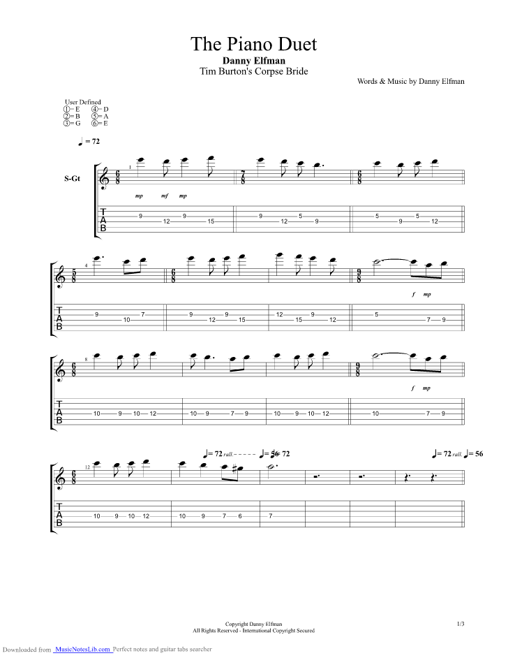 The Piano Duet guitar pro tab by Nightmare Before Christmas ...